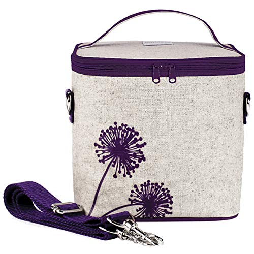 SoYoung Large Cooler Bag - Adult Lunch, Raw Linen, Eco-Friendly, Retro, Leakproof, Easy to Clean - Purple Dandelion