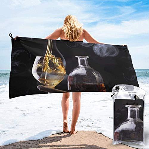 Toalla de Playa Whisky Smoke 27.5 'X 55',Ballerina Ultra Soft Sand Microfibra Portátil Absorbente de Agua Multi Microfiber Manta de Toalla de Playa sin Arena