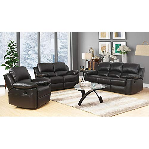 Evaxo Top-Grain Leather Reclining Sofa, Love seat and Armchair Set