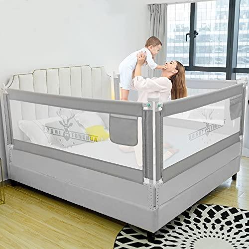 ZEHNHASE Barandilla de La Cama para bebés, Barrera de cama para niños Colchón doble, doble, tamaño completo tamaño queen y king (Cornamenta gris, 200cm, Children: L)