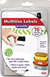 Jokari 47802 - Starter-Pack Multi Use Labels - für löschbare Mehrzwecketiketten mit 70 Etiketten, Radiergummi und Stift - Weiß