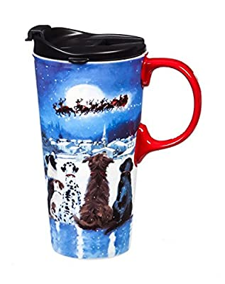 X-Mas Dogs Porcelain To Go Cup With Handle