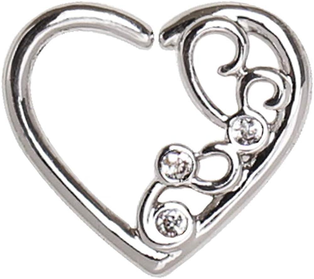 Amelia Phoenix Mall Fashion 16 Rare Gauge Jeweled Heart Cartilage Nose Ornate Hoop