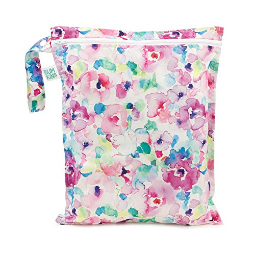 Bumkins Waterproof Wet Bag, Washable, Reusable for Travel, Beach, Pool, Stroller, Diapers, Dirty Gym Clothes, Wet Swimsuits, Toiletries, 12x14 – Watercolors
