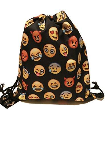 Desire Deluxe Emoticon Rucksack - Kordelzug Sporttasche Turnbeutel Emoticons Smileys Sportbeutel Rucksack Gymsack Stringbag Hipster Sack Umhängetasche, Schwarz - 60 Tage Geld-zurück-Garantieo