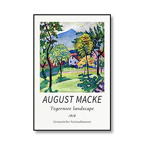 Famoso August Macke Tegernsee paisaje cuerda Walker lienzo pintura arte impresión cartel familia sin marco lienzo pintura Q-4 15x20cm