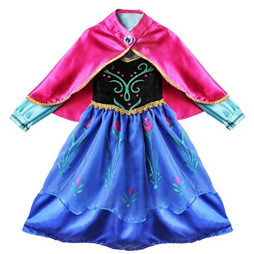 IEFIEL Vestido de Princesa Disfraz para Niña Manga Larga Capa Lentejuelas Desmontable Disfraces Halloween Carnaval Navidad Cosplay Princess Costume