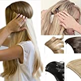 2-5 Days Delivery Best Synthetic Hair Extensions 20 inches Curly Straight Full Head Invisible Wire Secret String No Clips in Hair Extensions Secret Fish Line Hairpieces (dark brown & ash blonde)