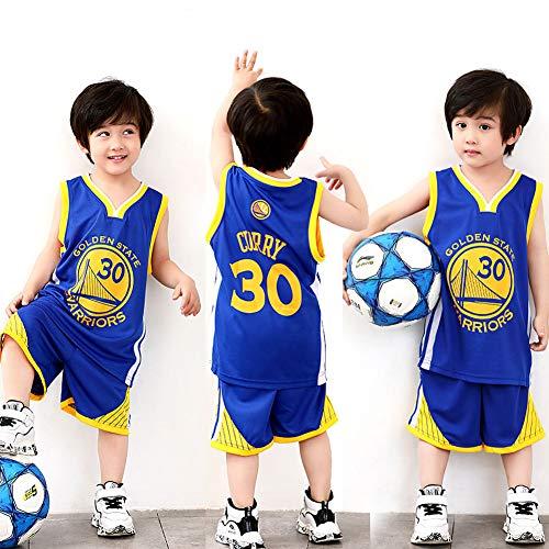 XCR NBA Warriors Curry 30th Golden State Baloncesto Camisetas Costume Traje Basketball Jersey Niños Chicos Chicas Hombres Costume Kit Set Retro Shorts y Camiseta Uniforme Top & Shorts 1 Set