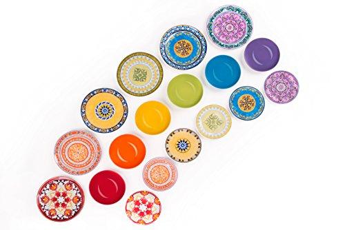 Excelsa Etno Chic Servizio Tavola, Porcellana, Multicolore, 18 Unità