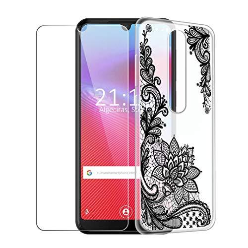 HYMY Funda para Vodafone Smart V10 Blanco Lechoso Translúcido + 1 x Vidrio Templado Protectores Pantalla - TPU Silicona Cover Tapa Caso para Vodafone Smart V10 (5.9') -WM108