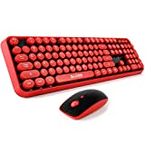 Wireless keyboard and mouse,Cute Wireless Keyboard with Round Retro Style Red...