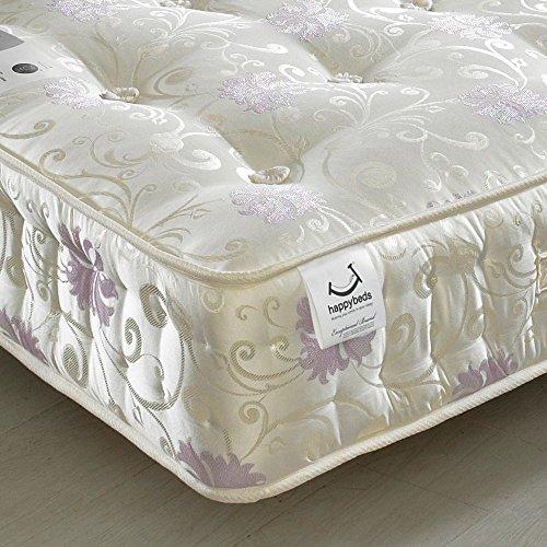Happy Beds Osborne - 1500-matelas orthopédique à ressorts ensachés, Tissu, blanc, Super...