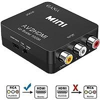 RCA a HDMI, GANA AV a HDMI Convertidor de Video Soporte 1080P con Cable de Alimentación USB para PC/Laptop/Xbox / PS4 / PS3 / TV/STB/VCR Cámara DVD -Negro