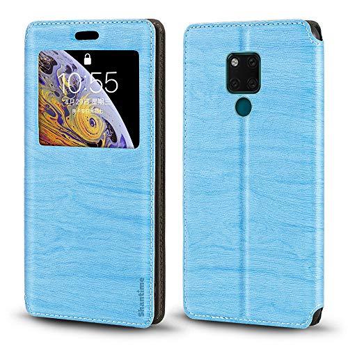 Huawei Mate 20 X Hülle, Holzmaserung Leder Hülle mit Kartenhalter & Fenster, magnetische Flip Cover für Huawei Mate 20 X 5G