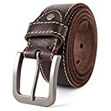 3ZHIYI Vintage Cinturón de piel de búfalo cuero 38 mm de ancho y aprox 4 mm de grueso, cinturón de los pantalones vaqueros de la prima para el ocio