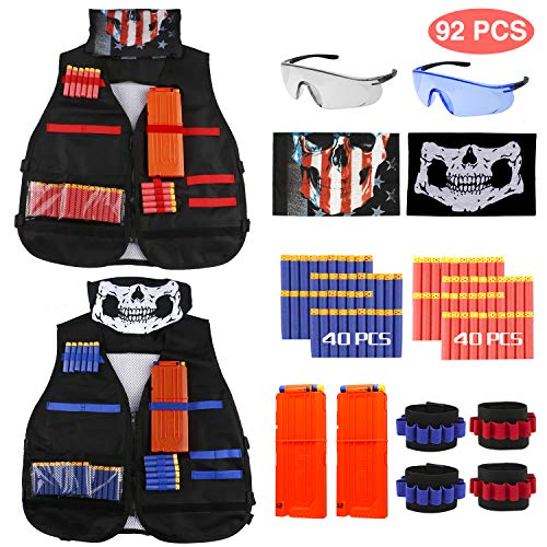 joylink Gilet tattico, 92 PCS Kit con Gilet tattico per Bambini 2 Pezzi Red & Blue Tactical Vest Thick Section per Le Pistole Nerf Serie N-Strike Elite