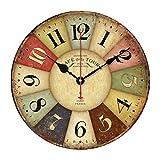 OULII Reloj de pared de madera, Vintage rústica país Toscano Retro estilo madera decorativa redonda pared reloj regalo Inicio decorativo para habitación (figuras de Color)