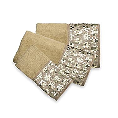 Popular Bath 839265 3 Piece Sinatra Towel Set, Champagne Gold