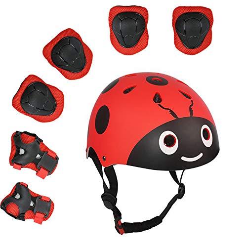 UniqueFit Lucky-M - Juego de 7 Almohadillas Protectoras para Deportes al Aire Libre para niños y niñas (Rodilleras, Coderas y muñequeras) (Rojo Escarabajo)