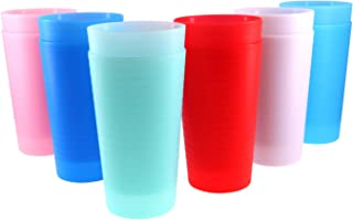 Reusable 28-ounce Cups set, BPA-free and Dishwasher Safe Plastic Tumblers, Set of 12 in 6 Assorted Colors Drinking Gl