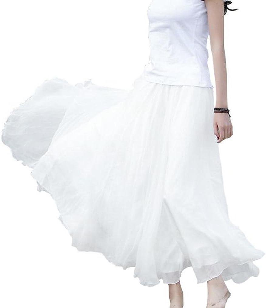 Women Long Maxi Casual Beach Skirts Boho Elastic Waist Chiffon Skirts Dress