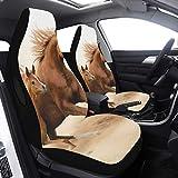 Enhusk 2 Stück Set Car Tow Cover Reinrassiges weißes arabisches Pferd in der Wüste Sitzbezugsschutz Kompatibel für Airbags Universal Fit für Autos LKWs und SUVs Autositzbezug SUV