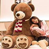 AIXINI ぬいぐるみ 特大 くまさん/クマ/テディベア 可愛い熊 動物 大きい/巨大/ビック くまのぬいぐるみ/熊縫い包み/クマ抱き枕 /柔らかいふわふわ ガールフレンドお祝いお誕生日プレゼント(120cm, スカーフ)