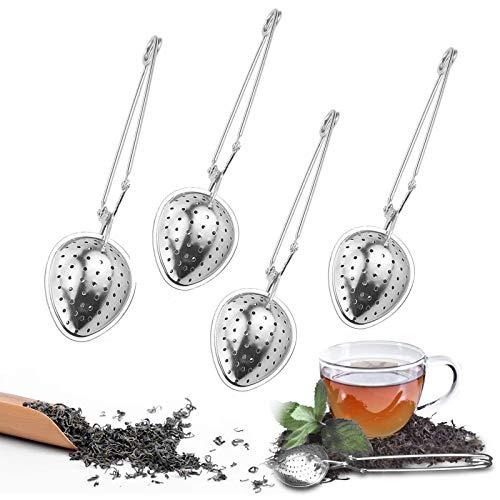 Guanici 4 cucharas colador de te con mango de acero inoxidable para te suelto para taza, infusor de te, colador de te de alta calidad, filtro de te, adecuado para tetera, taza, vaso y ollas