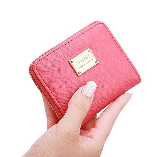 Creazy Women Leather Small Wallet Card Holder Zip Coin Purse Clutch Handbag (Watermelon Red)