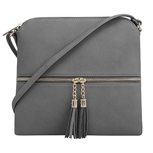 SG SUGU Umhängetasche, leicht, mittelgroß, mit Quaste und Reißverschlusstasche, Grau (grau), Einheitsgröße