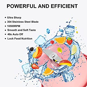 Cadai Portable Blender,USB Rechargeable Shakes and Smoothies Juicer Cup,Personal Size Blender for Fruit Mix and Vegetable Crush,Mini Travel Blender with BPA Free(PINK)