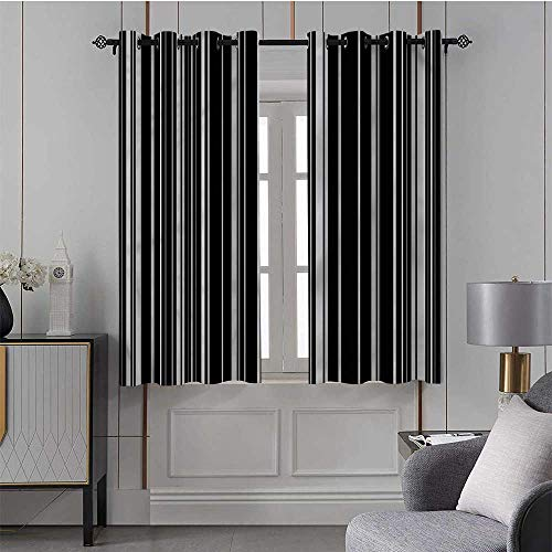 DayDayFun Country Curtain Striped,Grommet Top Blackout Curtains Barcode Vertical Stripes/Drapes/Panels for Kid's Room 42x45 Inch,2 Panels