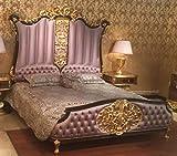 Casa Padrino Cama Doble Barroco de Lujo Rosa/marrón Oscuro/Oro - Cama Noble de Madera Maciza con cabecera - Magnífica Muebles de Dormitorio de Estilo Barroco