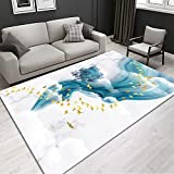 MOUPSDT Alfombra De Diseño Moderna vinilica Pintura de Paisaje Azul Blanco Animal Alce Alfombra Lavable, Alfombras Modernas para Sala de Estar, alfombras de habitacion, Alfombra Vinilo 120x170cm