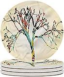 Posavasos de cerámica modernos Posavasos de piedra de cerámica de árbol colorido abstracto con base de corcho para tipos de tazas y tazas