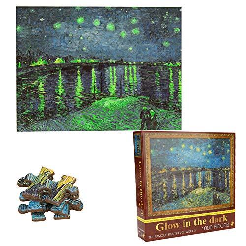 TYXSHIYE 1000 Teile Van Gogh Puzzle, Museum Puzzle Licht Puzzle für Erwachsene, 70x50cm 2mm Karton Puzzle - Familienpuzzle Verringerter Druck Schwieriges Puzzle Rahmen Puzzle für Kinder Erwachsene