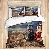 MIFSOIAVV Funda de edredón,Tractor Working Farm Transporte agrícola Moderno Granjero en el Campo Tierra fértil, Juego de Cama Suave de Lujo de 3 Piezas King Size