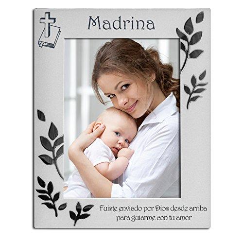 """Madrina, chapado en plata, con dorso de terciopelo, marco de fotos, plata mate y brillante, admite una foto de 4""""x 6"""", regalo de madrina, marco de foto,"""