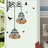 DINGDONG ART Stickers MurauxMode Cage À Oiseaux Peinture Décorative Chambre Salon TVMurale