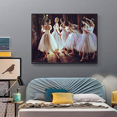 tzxdbh Ballerina olieverfschilderij Ballet Meisje Canvas Schilderij Voor Winkel Decoratie Thuis Woonkamer Muurdecoratie Art Schilderijen 3 50x60 Cm