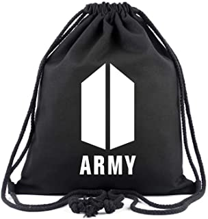 Korean KPOP Star BTS Drawstring Backpack Canvas Bag New Logo Backpack Shoulder Bag Gift For Army Fans (black-4)