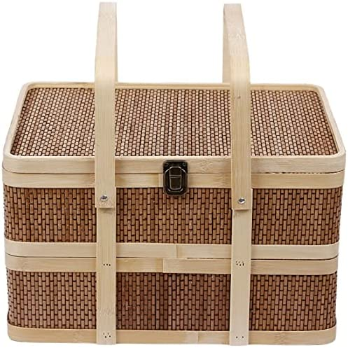 AQHXLS Double-Layer Picnic Baskets with Handles Lid and security Lo In a popularity