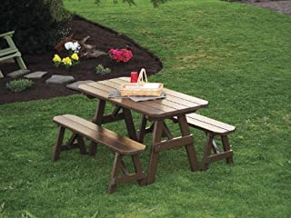 Outdoor 6 Foot Pine Picnic Table with 2 Benches Detached - Painted- Amish Made USA -Dark Green