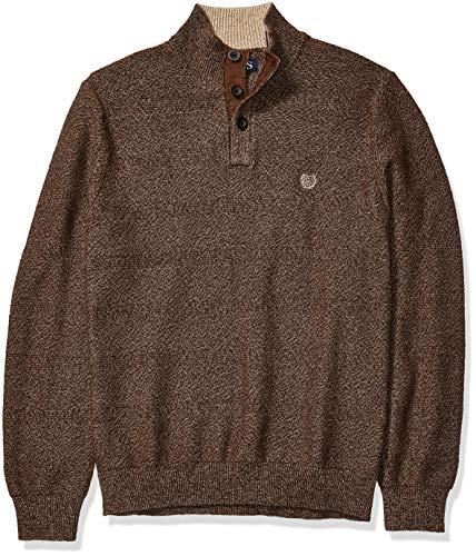 Chaps Men's Classic Fit Button Mock Sweater, Walnut Twist, L
