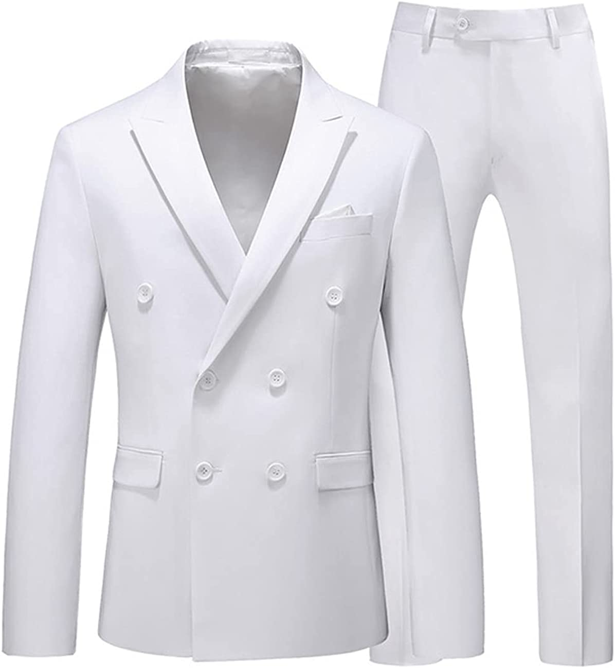 Seattle Mall werp Men's Suit 2 Piece Solid Tuxedo Slim Ja Double Breasted Fit Tulsa Mall