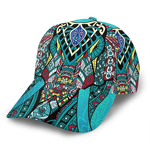 iuitt7rtree Baseball Cap Elefant Indian Bohemian Boho Unisex 3D Hip Hop Snapback Flat Brim Hat Baseball Caps Schwarz