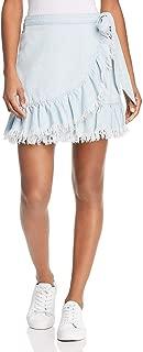 Blank NYC Womens Ruffled Frayed Wrap Skirt