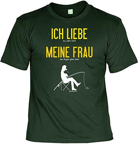 T-Shirt - Ich Liebe Meine Frau - Wenn sie Mich Angeln lässt - lustiges Sprüche Shirt für Angel Fans mit Humor - Geschenk Set mit Funshirt und Minishirt