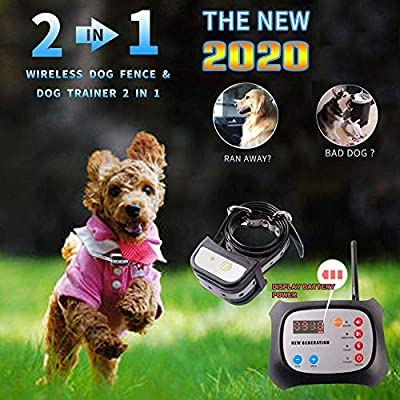 JUSTPET Wireless Dog Fence + Remote Dog Training Collar 2-in-1 System, Safe Harmless Electric Dog Wireless Fence Adjustable Range, Waterproof Reflective Collar (Upgraded Wireless Dog Fence-1 Collar)
